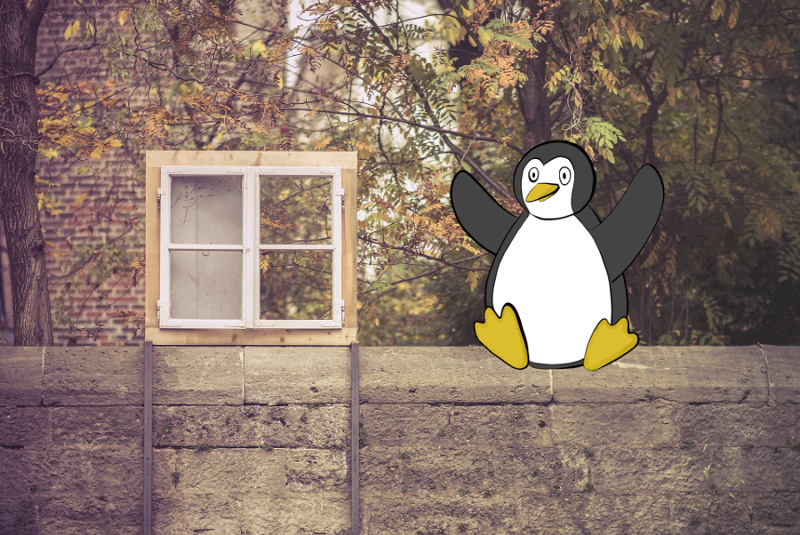 Photo d'une fenêtre et d'un muret. Un manchot dessiné est assis sur le muret. Clin d'oeil à Windows et GNU Linux