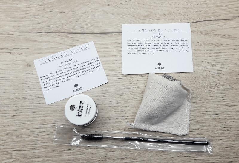 photo unboxing : détail des ingrédients du mascara et du khôl zéro déchet