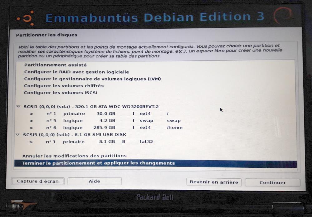 partitionnement assisté avec partition /home séparée
