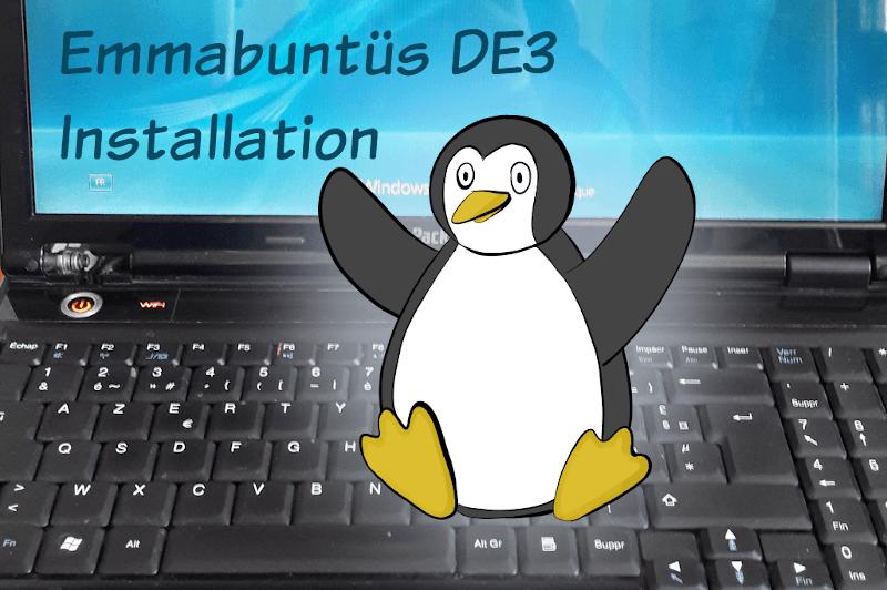 Emmabuntüs DE3 : installation (dessin d'un manchot sur un clavier d'ordinateur)