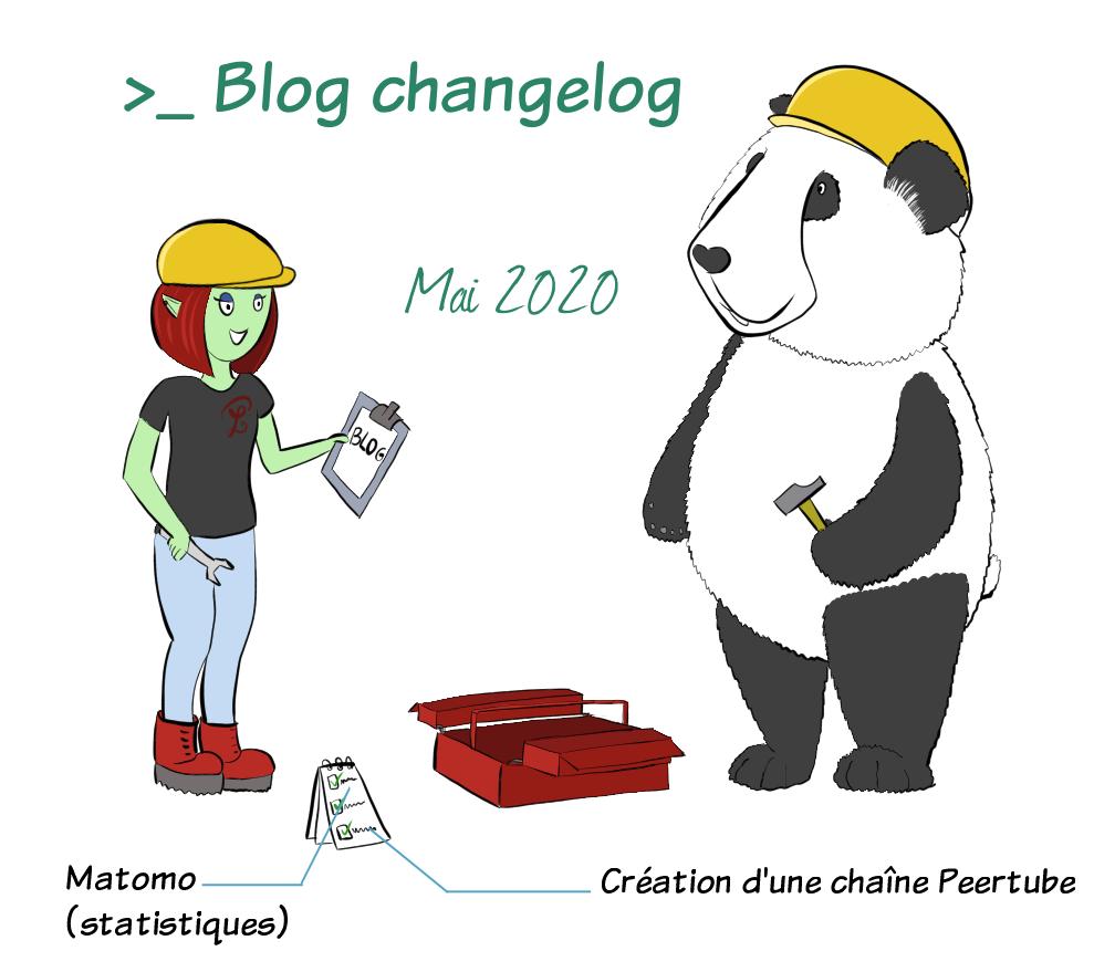 """Petit Lutin et Moustache le panda portent des casques de chantier. Entre eux est ouverte une caisse à outils. Petit Lutin tient une clé à molette et une feuille sur laquelle il est écrit """"blog"""", et Moustache un marteau. Les choses réalisées sont l'installation de Matomo pour les statistiques du blog, ainsi que l'installation et la création d'une chaîne Peertube."""
