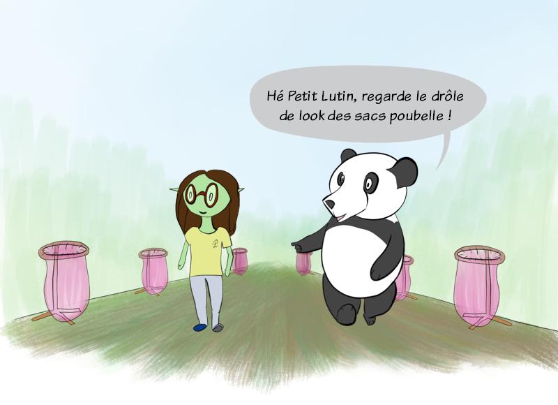Petit Lutin et Moustache (le panda), adolescents, se promènent dans un parc et Moustache trouve que les sacs poubelles roses sur leurs accroches circulaires lui font penser à quelque chose