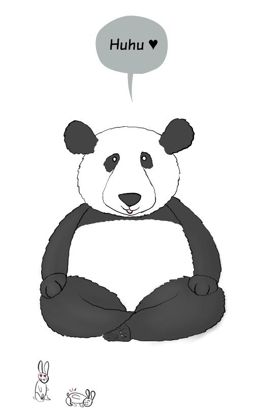 Case de BD : Moustache le panda dit 'Huhu' et un.e lapin.e en incite un autre à faire des galipettes.