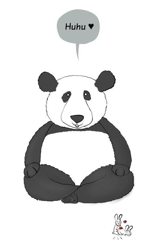 Case de BD : Moustache le panda dit Huhu', les lapins font des galipettes.