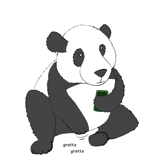 Case de BD : Moustache le panda se gratte l'entrejambe.