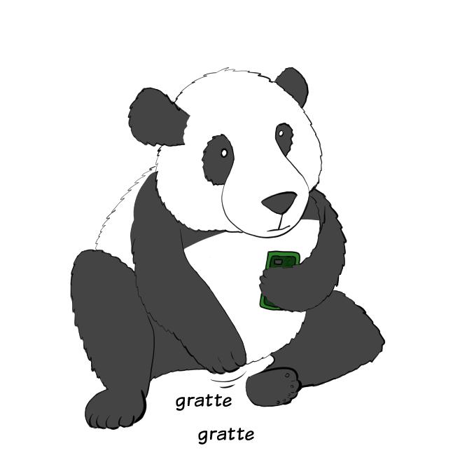 Case de BD : Moustache le panda se gratte l'entrejambe un peu plus fort.