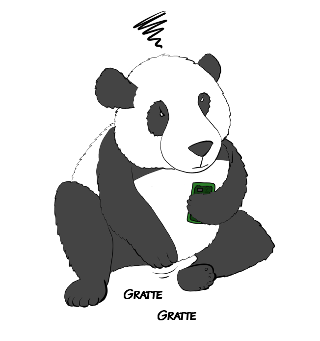 Case de BD : Moustache le panda se gratte vivement l'entrejambe et ça l'énerve.