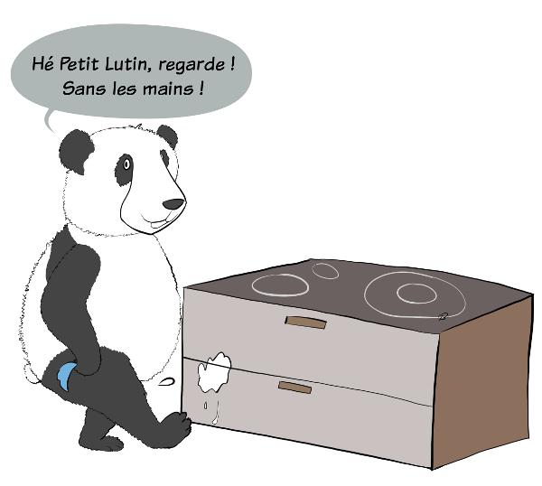 Case de BD : Moustache le panda cache le pchit et le met derrière lui. Il appuie sur la gachette, on voit le jet qui sort derrière lui. Il fait croire à Petit Lutin qu'il a mis de sa semence sur le meuble situé sous la plaque de cuisson.