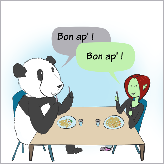Case de BD : Moustache le panda et Petit Lutin s'apprêtent à manger, le plat de Petit Lutin est beaucoup plus conséquent que celui de Moustache.