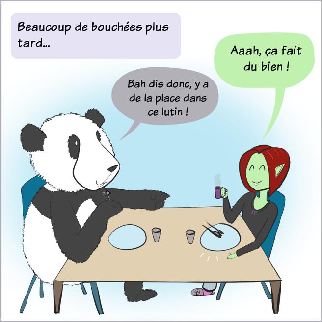 Case de BD : les assiettes sont vides, Petit Lutin dit 'Aaah, j'ai bien mangé' et Moustache le panda lui dit :'Oh bah dis donc, il y a de la place dans ce lutin !'