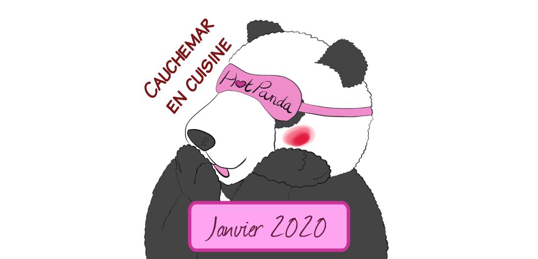 """illustration du HotPanda : Moustache le panda a un beandeau sur les yeux sur lequel il est écrit """"Hotpanda"""" avec un coeur, l'épisode s'appelle """"Cauchemar en cuisine"""" et c'est celui de janvier 2020"""