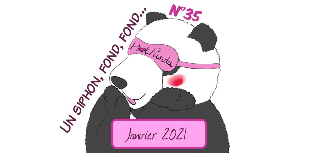 """Illustration d'un panda qui fait """"huhu"""" en rougissant. C'est l'épisode 35 des HotPandas, l'épisode s'appelle """"Un siphon, fond, fond..."""""""