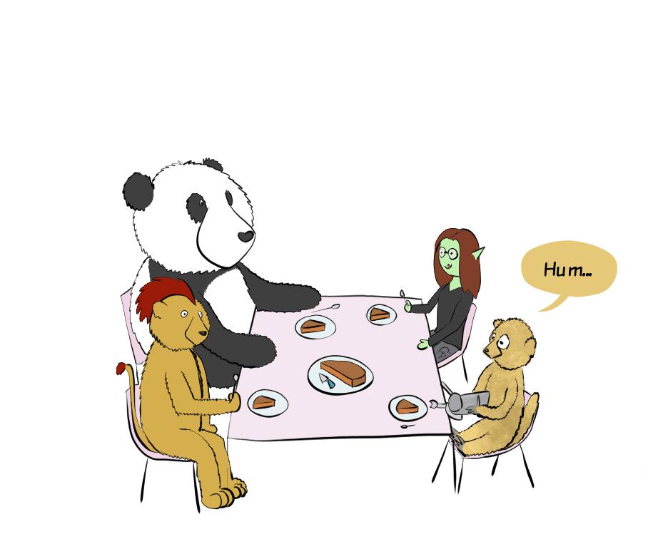 Moustache le panda, Petit Lutin, un lion punk avec la crinière en forme de crête et un suricate sont à table, ils vont manger du gâteau. Le suricate tient le siphon à chantilly dans les mains, mais il n'a pas l'air de bien savoir comment s'en servir (il n'oriente pas le siphon bien verticalement).