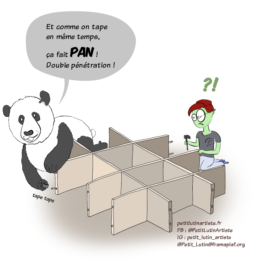 """Case de BD : Moustache le panda, en train de taper avec le marteau pour enfoncer un des bitoniaux, crie : """"Et comme on tape en même temps, ça fait PAN! Double pénétration !"""" Petit Lutin est abasourdie, sous le choc de la surprise."""