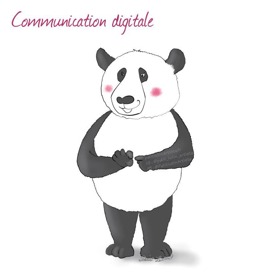 """Il est écrit """"communication digitale"""" en haut de l'illustration. Moustache le panda a un regard lubrique et les joues rouges, et il met l'index d'une main entre le pouce et l'index de l'autre : le signe des humains pour dire qu'ils veulent copuler."""