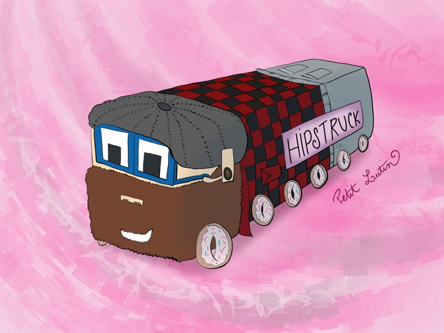 Illustration : un camion est dessiné façon dessin animé type Cars avec les yeux sur le pare-brise, et il porte une barbe, une chemise à carreaux rouges et noirs et un jean. Ses roues sont représentées avec des donuts.