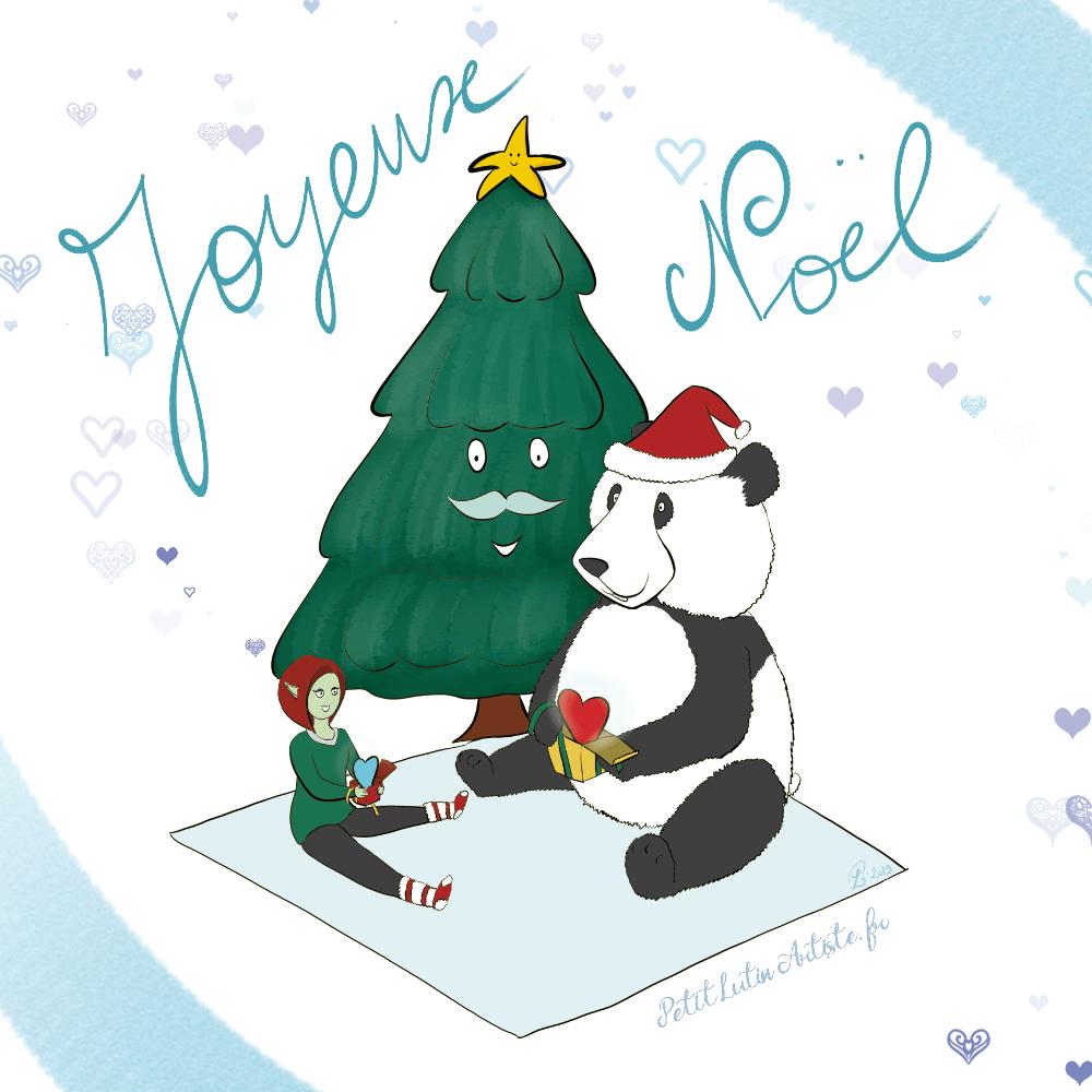 illustration de Noël : au pied d'un sapin moustachu, Petit Lutin et Moustache le panda ouvrent leur cadeau. Ils se sont mutuellement offert un coeur (symbole).