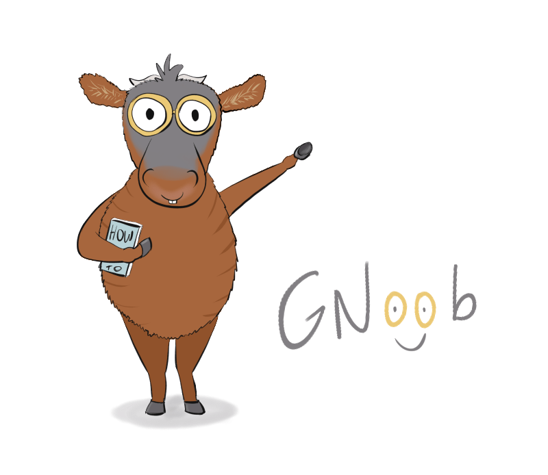 a little gnu with glasses, it is written GNoob