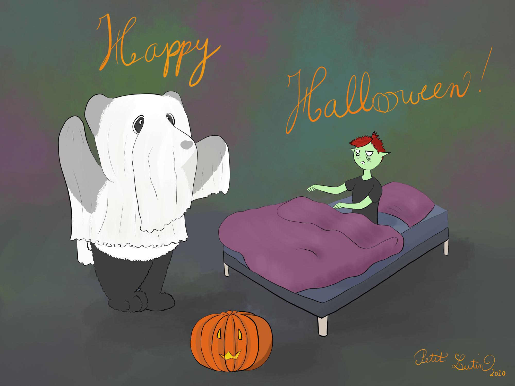Moustache le panda est déguisé en fantôme pour Halloween. Petit Lutin est dans son lit, presque pas déguisée mais fait la zombie avec ses gros cernes sous les yeux et ses bras en avant.