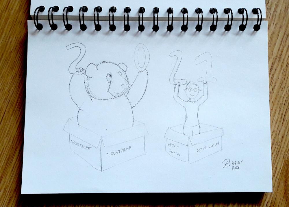 """Photo d'un dessin où Petit Lutin et Moustache se tiennent dans des cartons de déménagement. On peut lire """"Moustache"""" sur les côtés du carton de déménagement dans lequel se tient Moustache, et """"Petit Lutin"""" pour Petit Lutin. Moustache tient des ballons en forme de 2 et de 0, et Petit Lutin tient des ballons de forme de 2 et de 1. Tout ça évoque le fait que je vous souhaite une bonne année 2021, et que pour moi l'année a commencé en déménageant."""