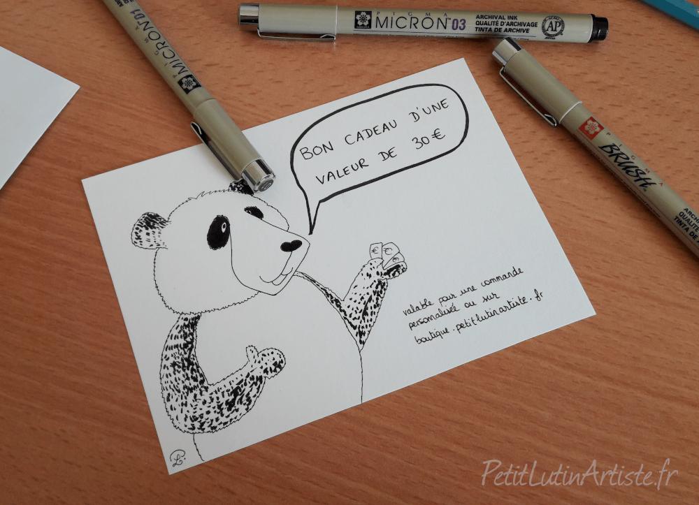 Moustache le panda qui illustre un bon cadeau sur la boutique ou pour une commande d'illustration personnalisée