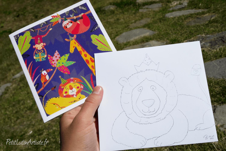 photo d'une carte postale avec un lion. j'ai dessiné un lion sur l'enveloppe blanche