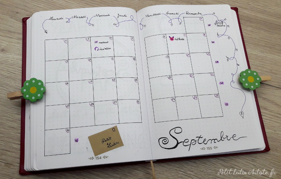 Belette Journal, mon bullet journal de aout 2019 - calendrier mensuel