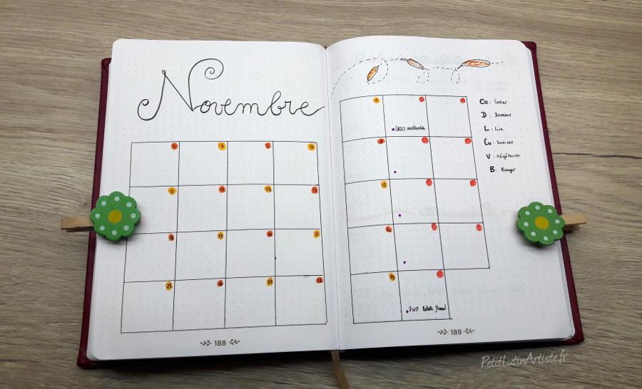 Belette Journal, mon bullet journal de novembre 2019, calendrier mensuel