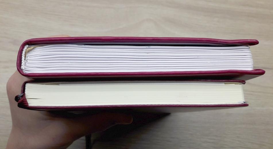 photo : comparaison entre le Quo Vadis Life Journal qui est plus épais que le Leuchtturm 1917 alors qu'il comporte moins de pages
