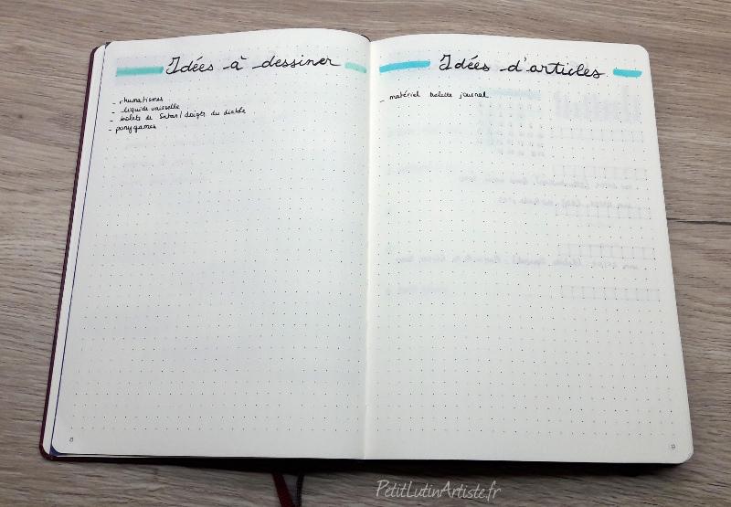 photo du setup 2020 de mon bullet journal : page de gauche les idées à dessiner, page de droite les idées d'articles de blogs