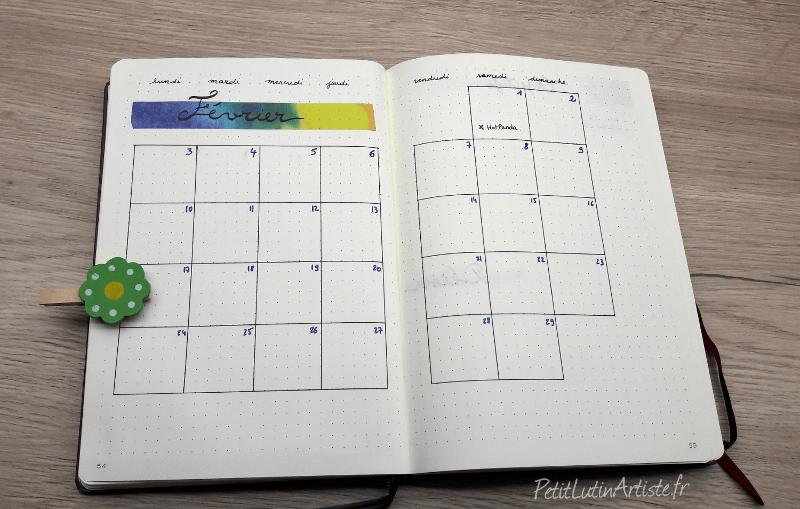 double page du mois de février 2020 : calendrier mensuel