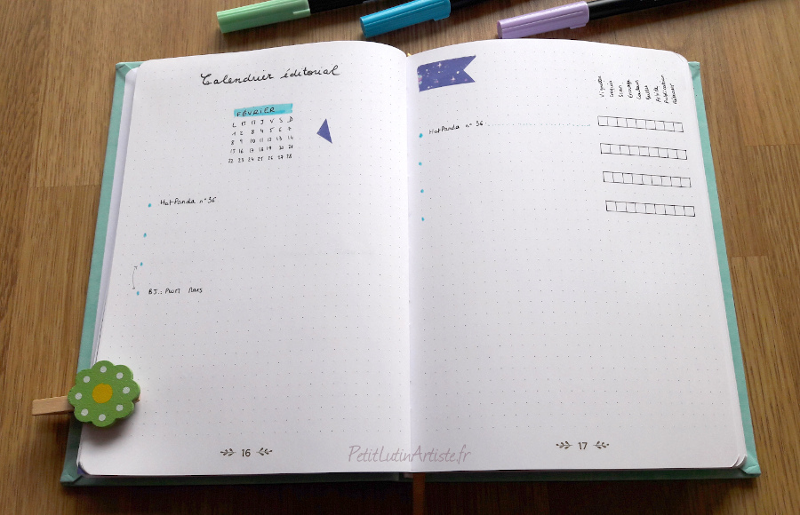 calendrier éditorial du blog dans mon bullet journal