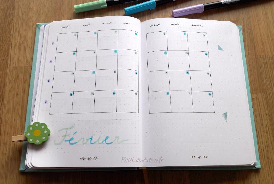 calendrier février 2021 dans mon belette journal