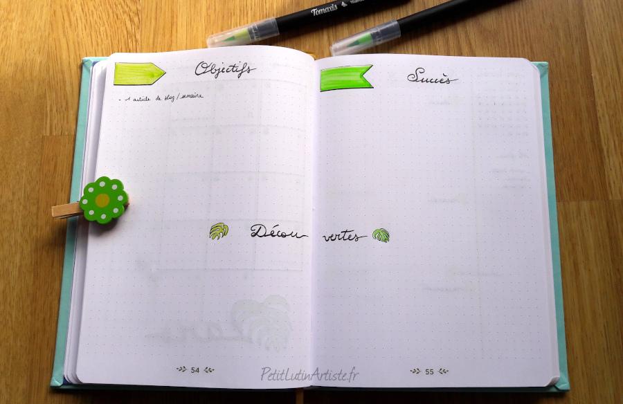 Double page de bullet journal : objectifs, succès et découvertes