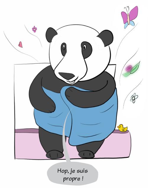 Moustache (le panda) se sèche dans sa serviette en disant :'Hop! je suis propre !'