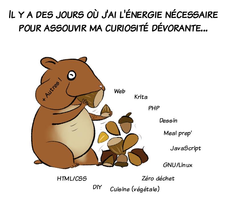 La liste de tout ce qui intéresse Petit Lutin artiste en ce moment : html/css, le web, krita, gnu/linux...