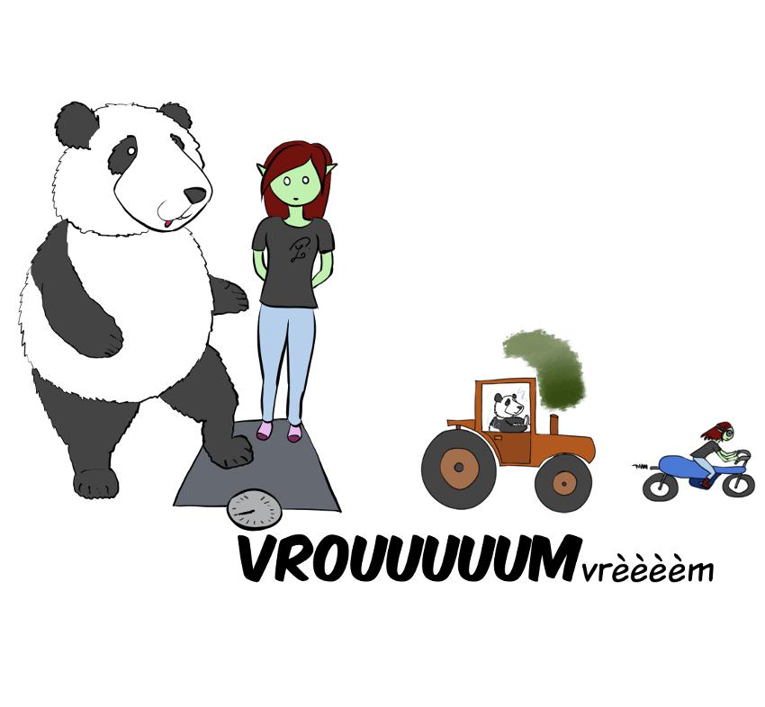 Case de BD : Moustache le panda pose à son tour son pied sur la balance et cette fois-ci on entend un bruit de moteur de tracteur.