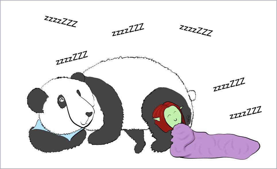 Case de BD : Petit Lutin a pris un plaid et s'est adossée à Moustache pour faire la sieste avec lui. Ils ronflent en choeur.