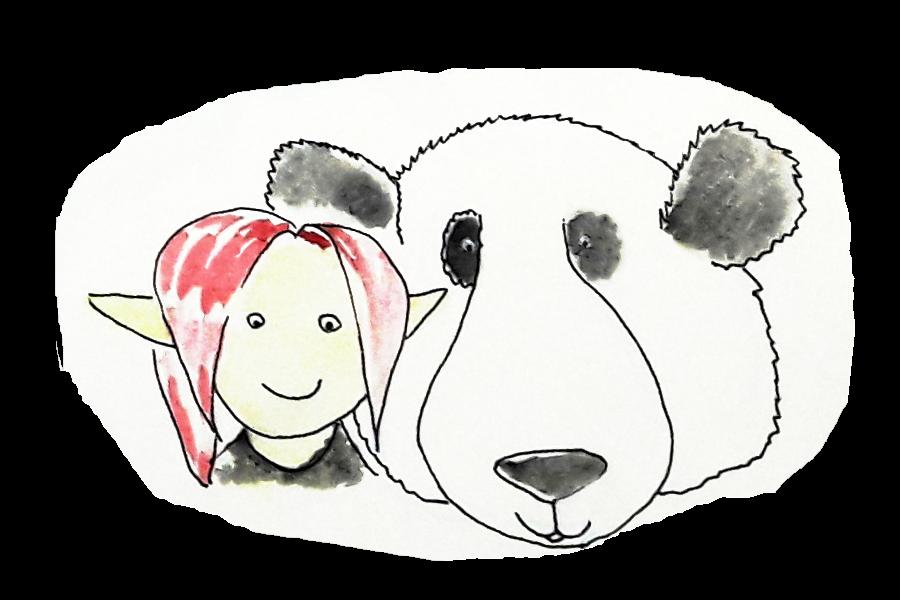 peinture aquarelle petit lutin et moustache le panda