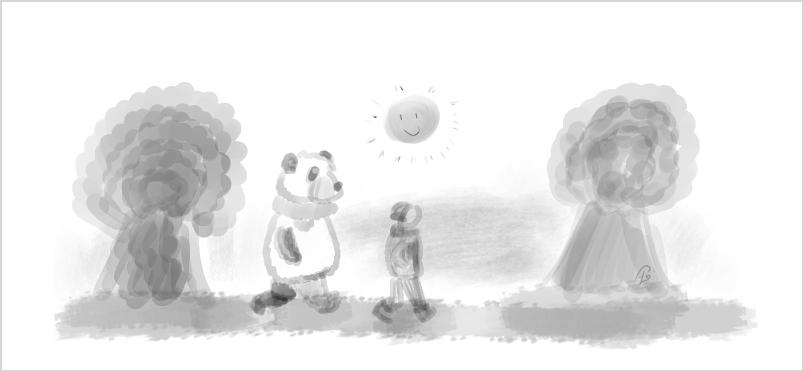 Petit Lutin et Moustache se promènent dans le parc.