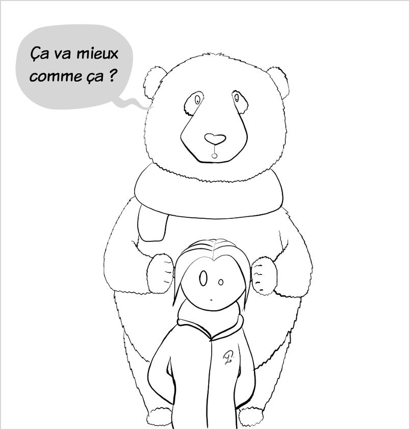 Moustache le panda, qui marche derrière elle, pose ses pattes sur les oreilles de Petit Lutin pour lui demander si ça va mieux en faisant ça. Le geste surprend Petit Lutin.