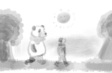 petit lutin et moustache se promènent dans un parc