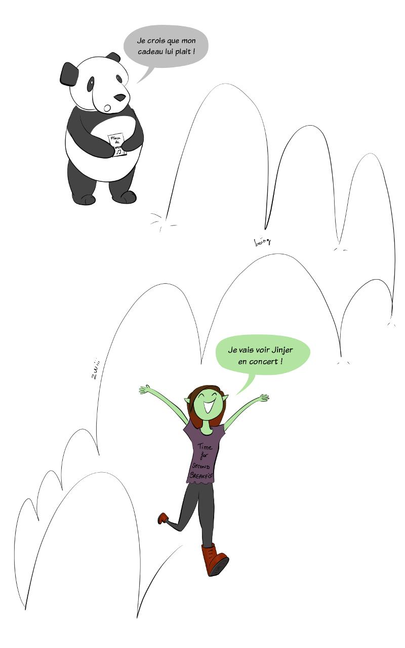 """Illustration : Petit Lutin saute de joie et Moustache le panda constate """"Je crois que mon cadeau lui plait"""""""