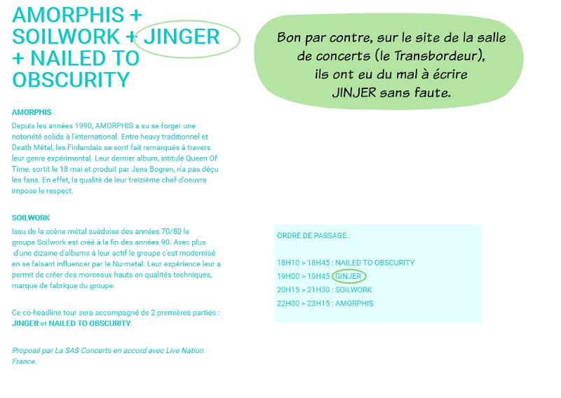 Captures d'écran du site du Transbordeur où c'est écrit Jinger ou Ginjer mais pas Jinjer avec 2 J comme il faudrait.
