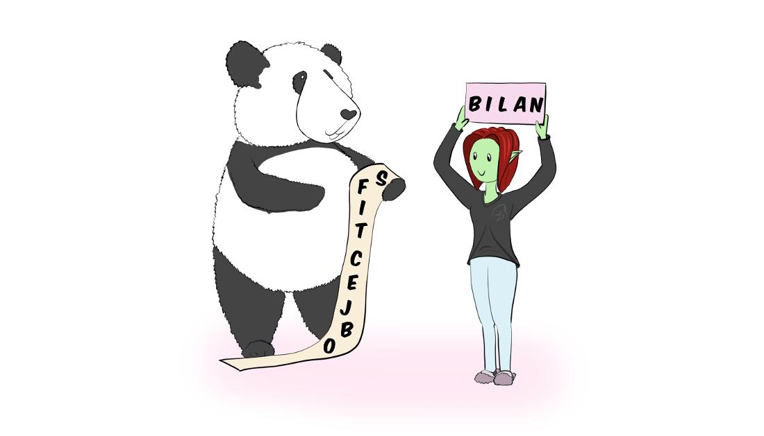 """dessin : Moustache le panda tient une longue feuille sur laquelle il est écrit """"objectifs"""", et Petit Lutin tient une pancarte où il y a écrit """"bilan"""""""