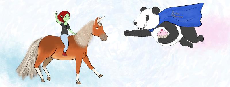 image aperçu de la bannière : petit lutin sur une licorne et moustache le panda qui vole vers elle