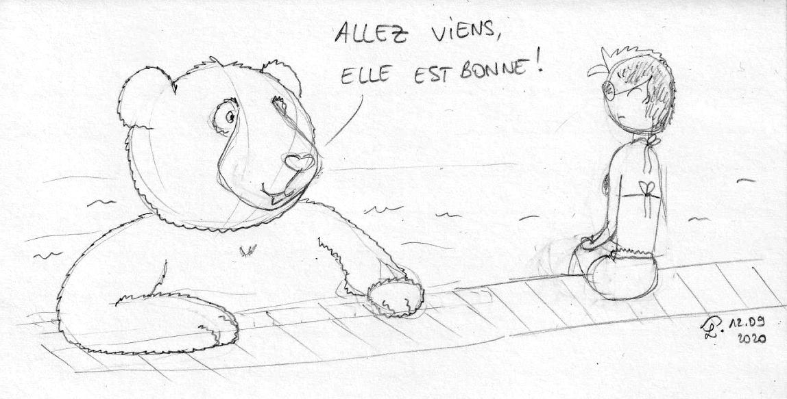 """Dessin : Moustache le panda se baigne dans la piscine, en disant à Petit Lutin qui reste sur le bord : """"Allez viens, elle est bonne !"""""""