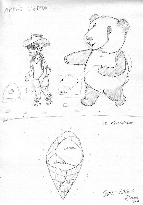Après l'effort (Petit Lutin et Moustache le panda font une randonnée de 10km), le réconfort : une glace artisanale banane-chocolat !