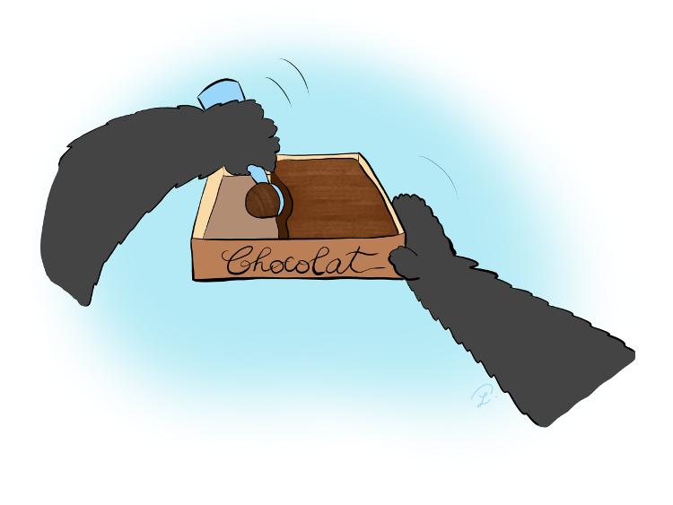 Case de BD : Moustache le panda utilise une cuillère spéciale pour faire une boule de glace au chocolat.