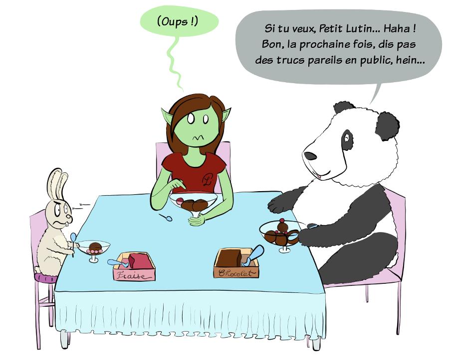 Case de BD : Moustache le panda rit et dit :'Si tu veux Petit Lutin... Haha ! Mais ne dis pas des trucs comme ça en public la prochaine fois, hein...'